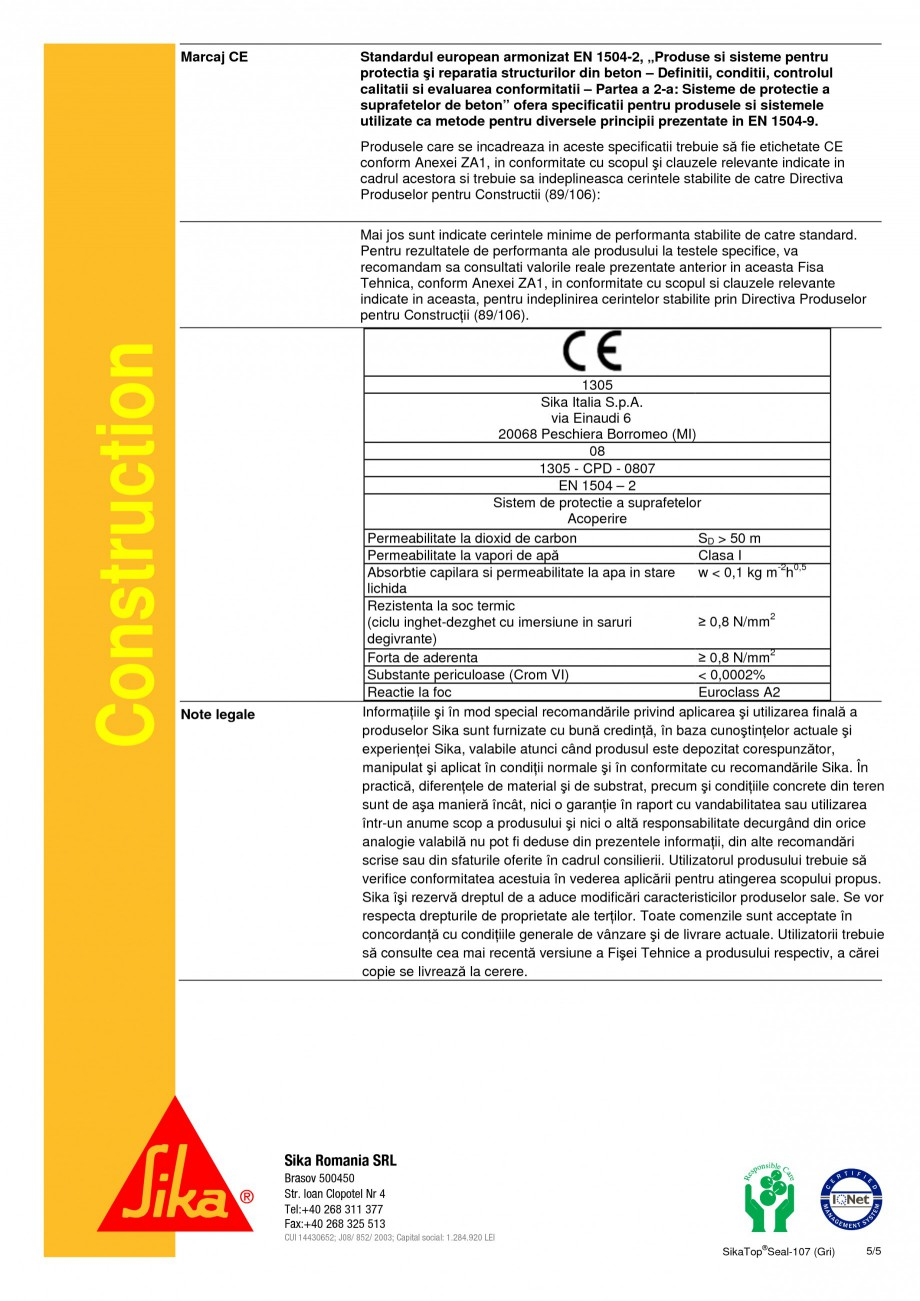 Pagina 5 - Mortar semi-elastic pentru impermeabilizare si protectie SIKA SikaTop®Seal-107 (Gri) ...