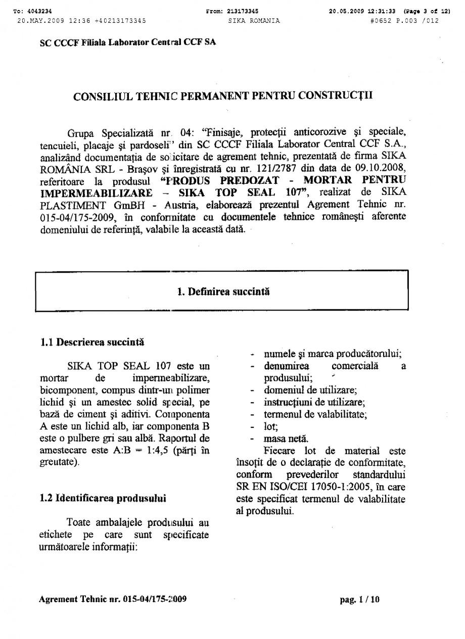 Pagina 3 - Agrement tehnic SIKA SikaTop®Seal-107 Certificare produs Romana