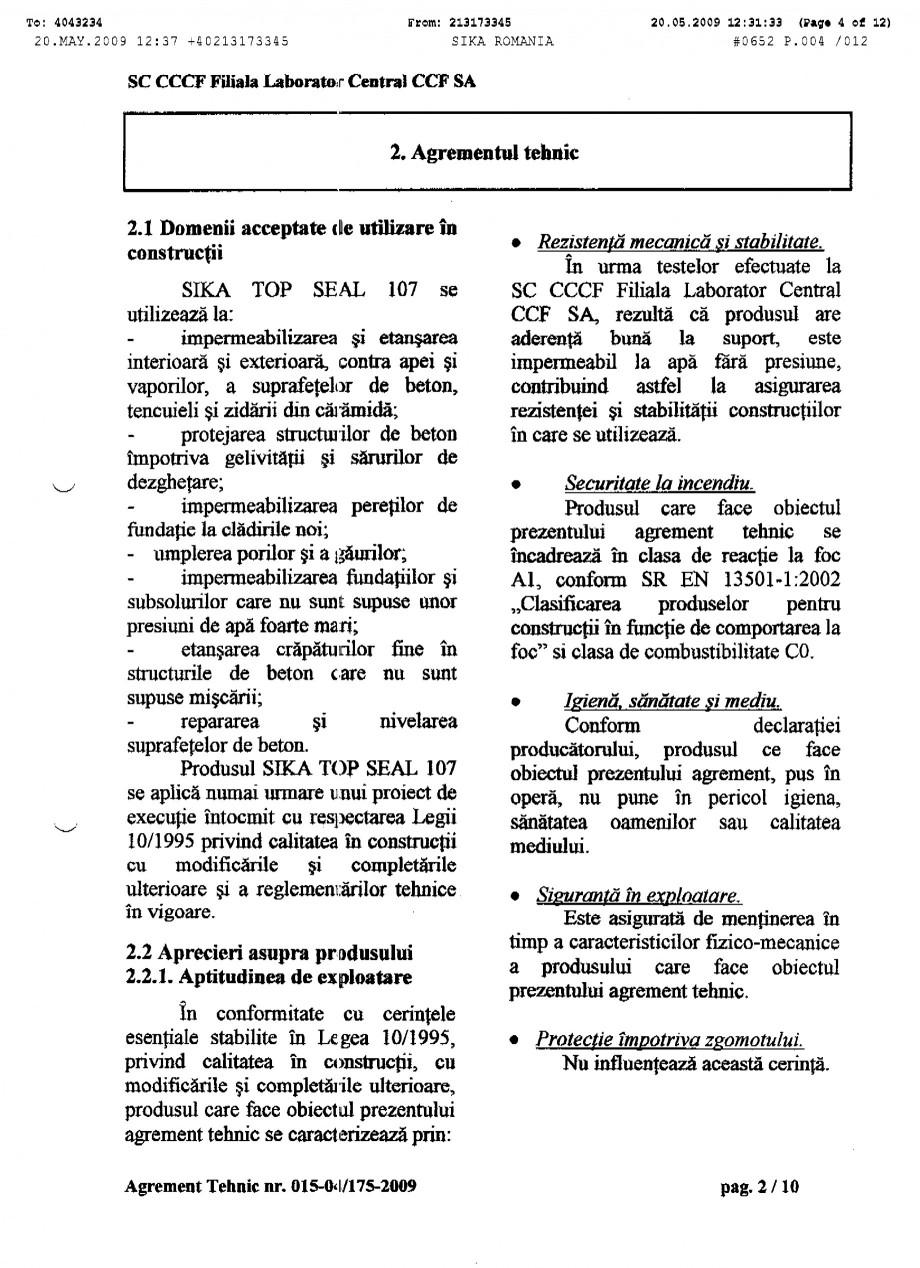 Pagina 4 - Agrement tehnic SIKA SikaTop®Seal-107 Certificare produs Romana