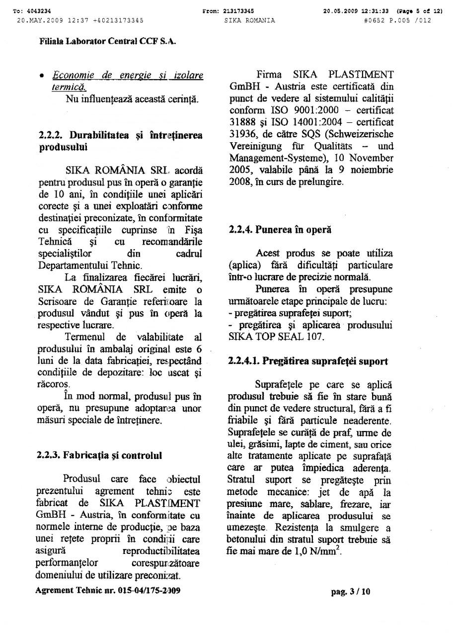 Pagina 5 - Agrement tehnic SIKA SikaTop®Seal-107 Certificare produs Romana