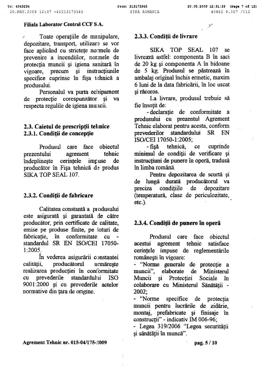 Pagina 7 - Agrement tehnic SIKA SikaTop®Seal-107 Certificare produs Romana
