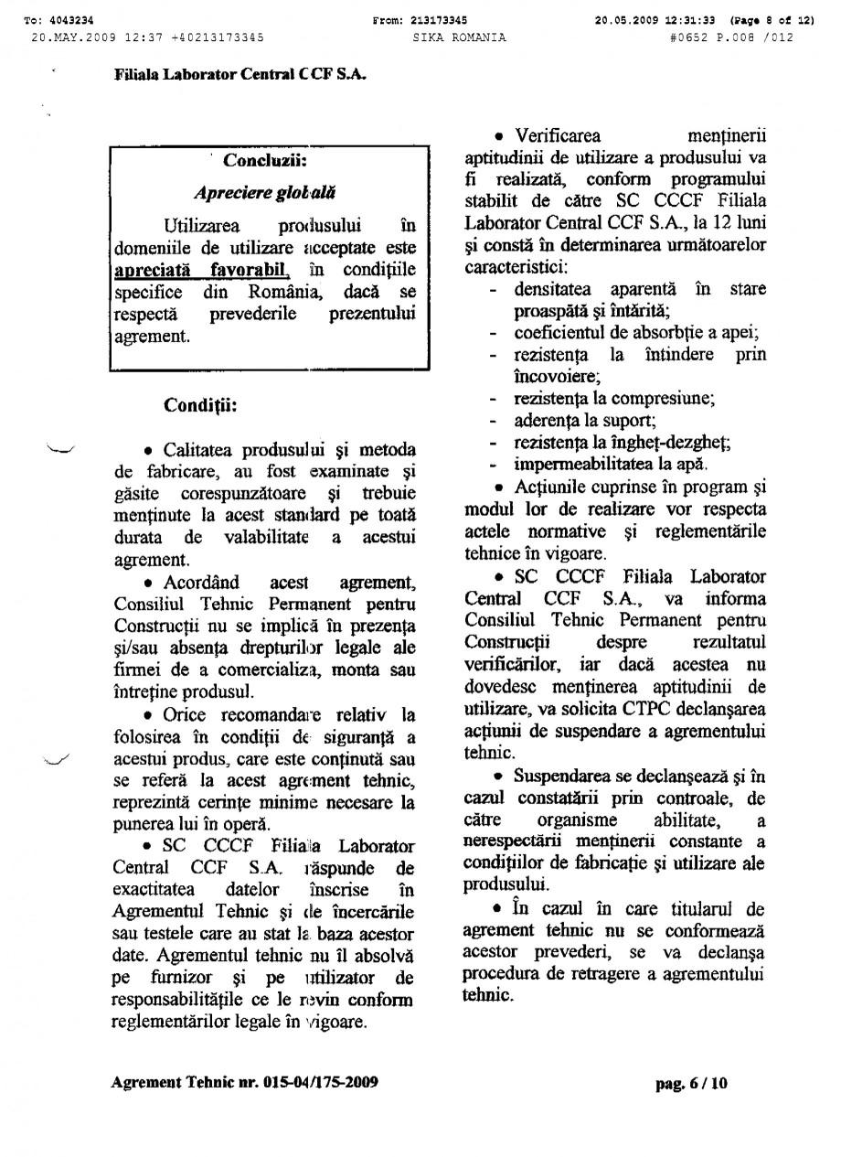 Pagina 8 - Agrement tehnic SIKA SikaTop®Seal-107 Certificare produs Romana