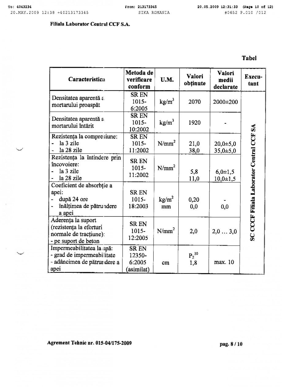 Pagina 10 - Agrement tehnic SIKA SikaTop®Seal-107 Certificare produs Romana