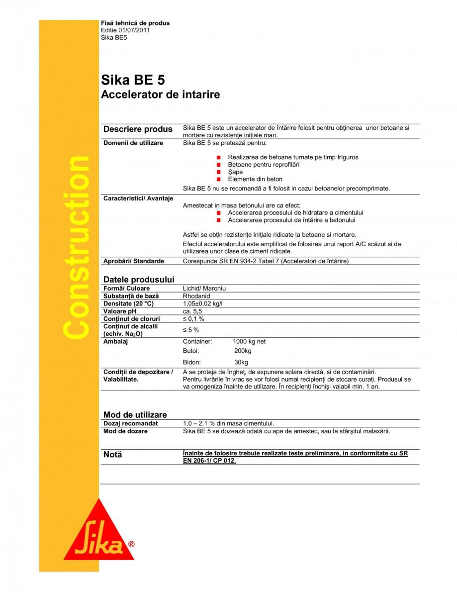 Pagina 1 - Accelerator de intarire SIKA Sika® BE 5 Fisa tehnica Romana Fisă tehnică de produs ...