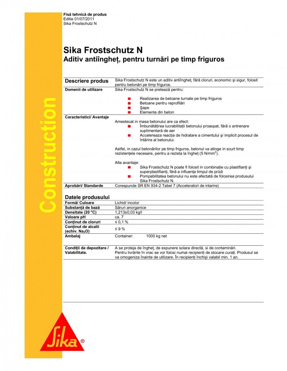 Pagina 1 - Aditiv antiinghet pentru turnari pe timp friguros SIKA Sika® Frostschutz N Fisa...