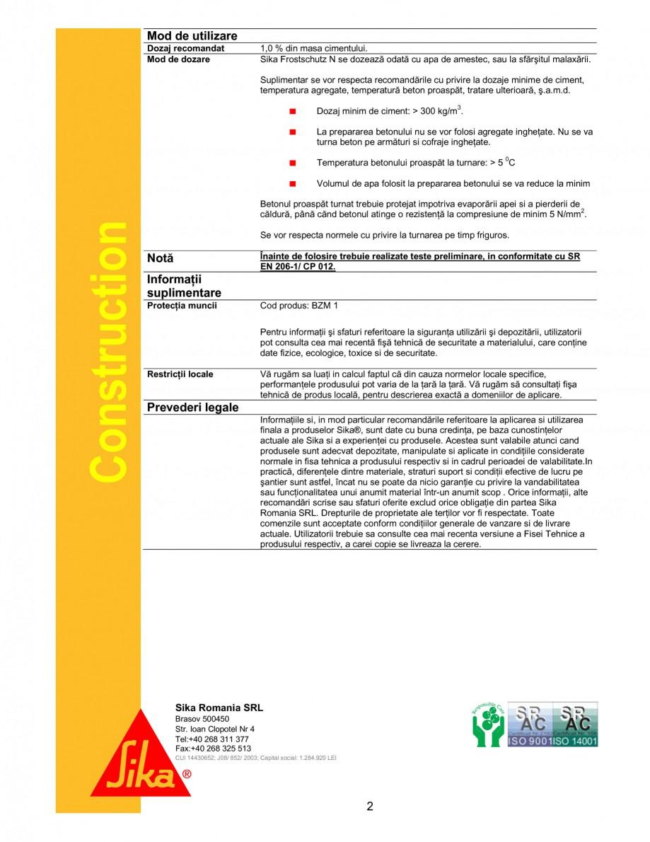 Pagina 2 - Aditiv antiinghet pentru turnari pe timp friguros SIKA Sika® Frostschutz N Fisa...