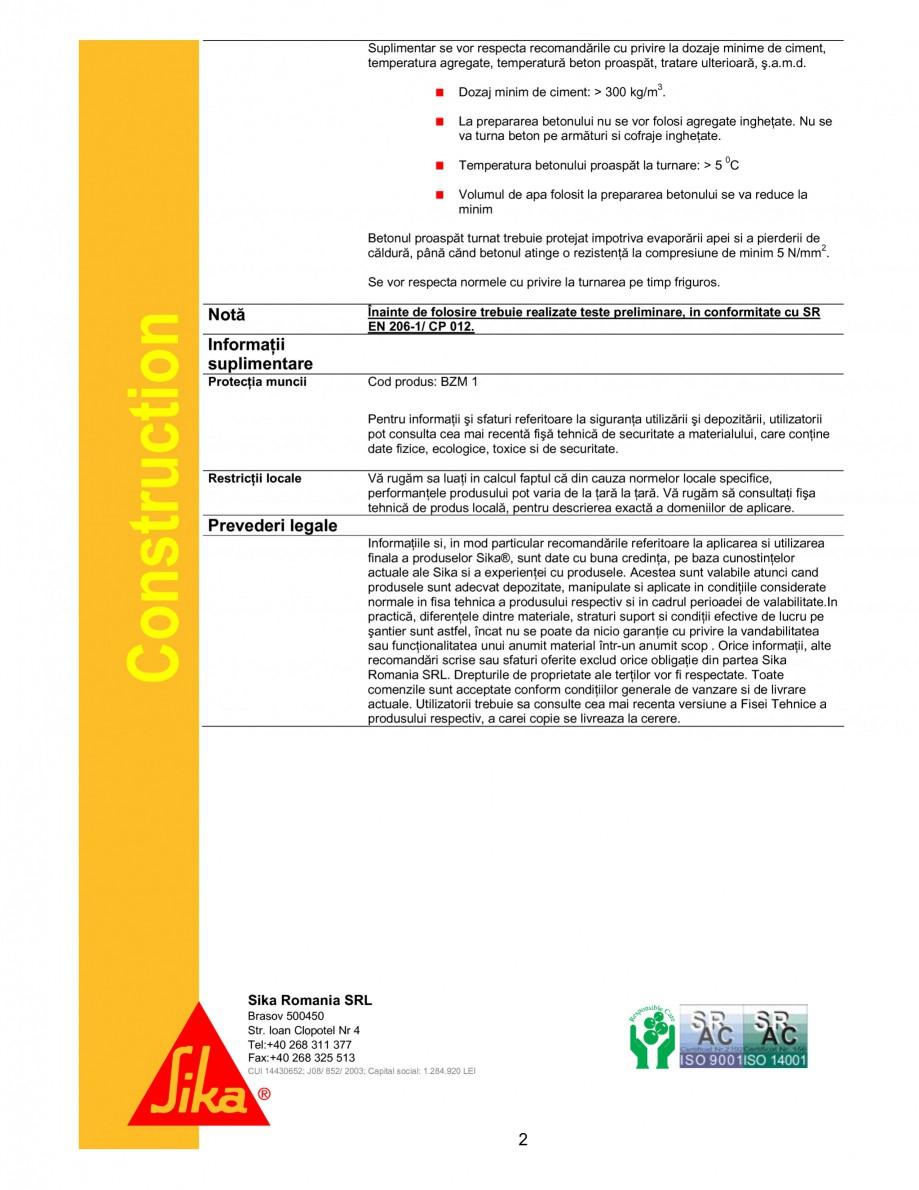 Pagina 2 - Aditiv antiinghet pentru turnari pe timp friguros SIKA Sika® FS 1 Fisa tehnica Romana...