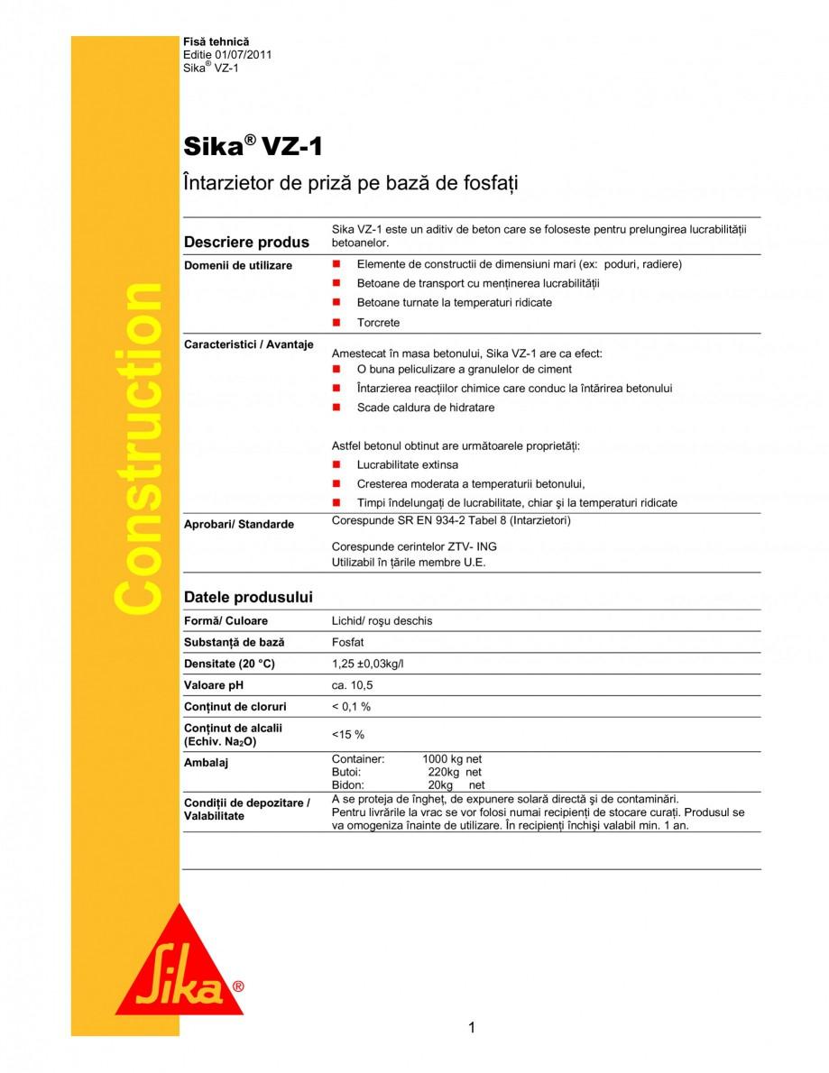Pagina 1 - Intarzietor de priza pe baza de fosfat SIKA Sika® VZ-1 Fisa tehnica Romana Fisă...