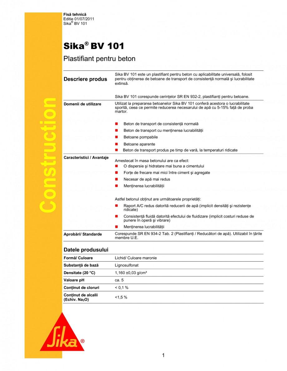 Pagina 1 - Plastifiant pentru betoane de transport de consistenta normala si lucrabilitate extinsa...