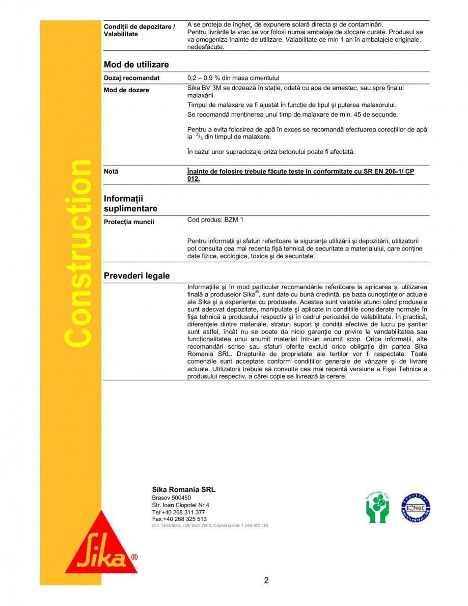 Pagina 2 - Plastifiant pentru beton de consistenta normala SIKA Sika® BV 3M Fisa tehnica Romana ...