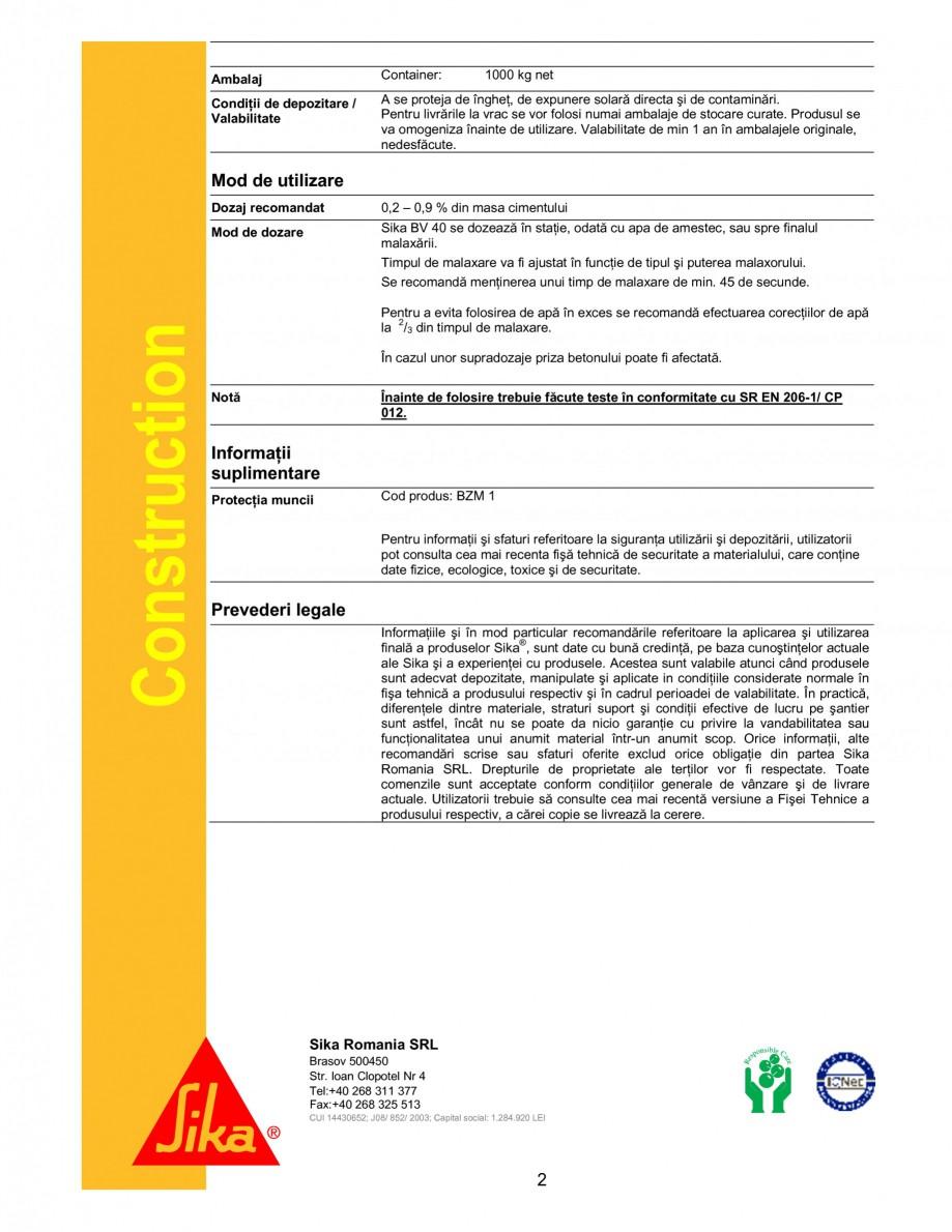 Pagina 2 - Plastifiant pentru beton de consistenta normala si pentru beton impermeabil SIKA Sika®...