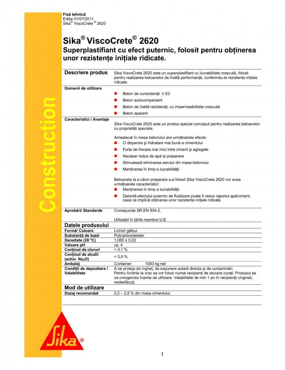 Pagina 1 - Superplastifiant cu efect puternic pentru obtinerea unor rezistente initiale ridicate...