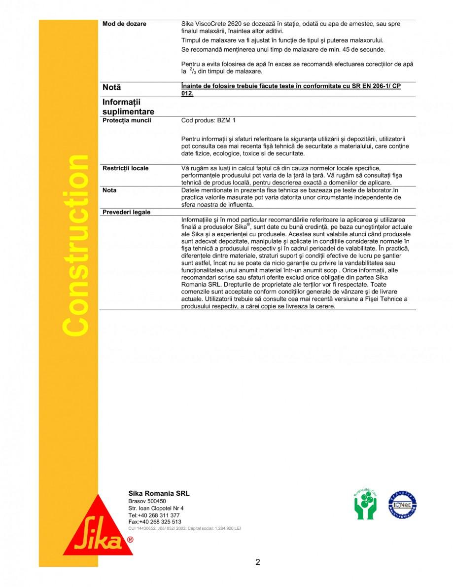 Pagina 2 - Superplastifiant cu efect puternic pentru obtinerea unor rezistente initiale ridicate...