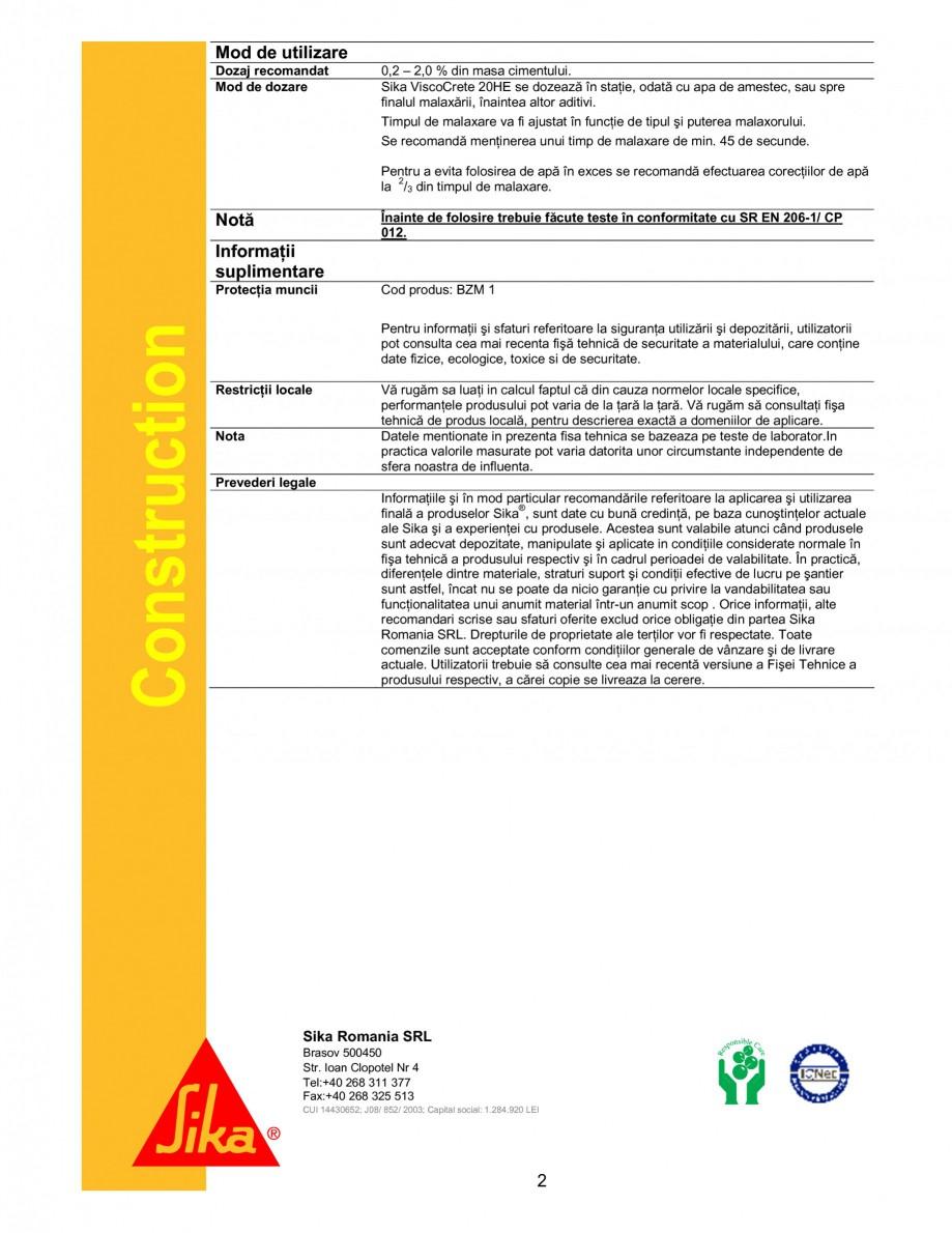 Pagina 2 - Superplastifiant cu eficienta ridicata SIKA Sika® ViscoCrete® 20 HE Fisa tehnica ...