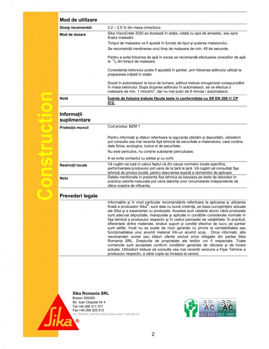 Pagina 2 - Superplastifiant universal cu efect puternic pentru beton de transport SIKA Sika®...