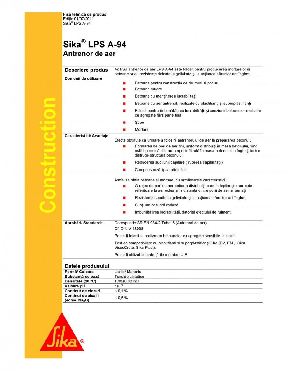 Pagina 1 - Antrenor de aer SIKA Sika® LPS A-94 Fisa tehnica Romana Fisă tehnică de produs...