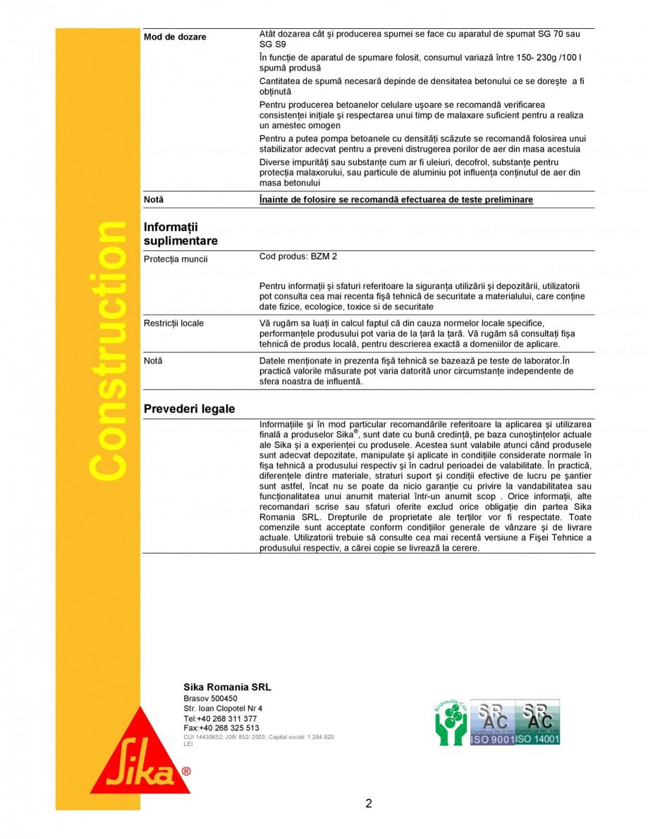 Pagina 2 - Spumant pentru realizarea betoanelor usoare si a betoanelor celulare usoare SIKA Sika®...