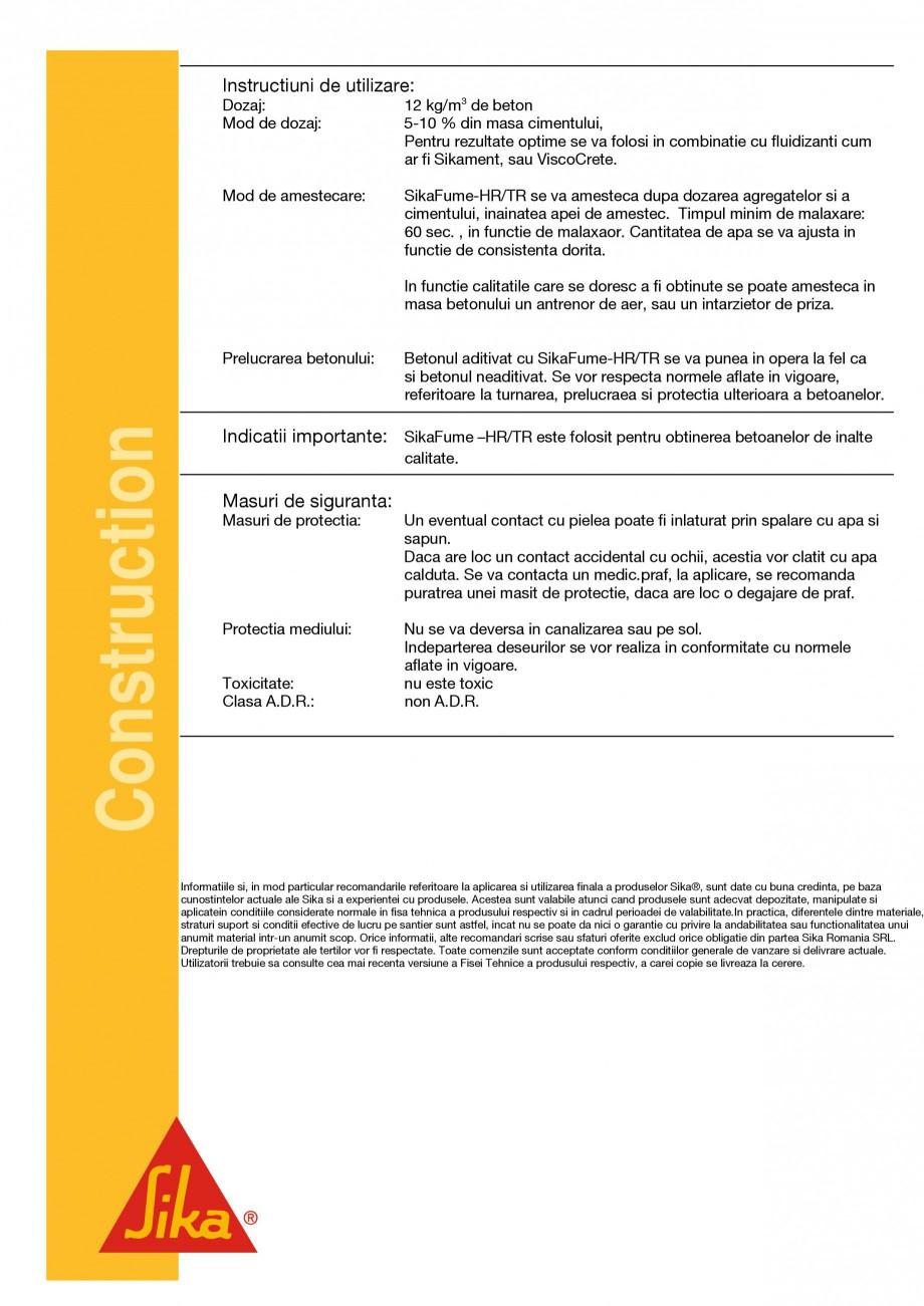 Pagina 2 - Adaos pentru beton SIKA SikaFume®-HR/ -TU Fisa tehnica Romana  beton realizate prin...