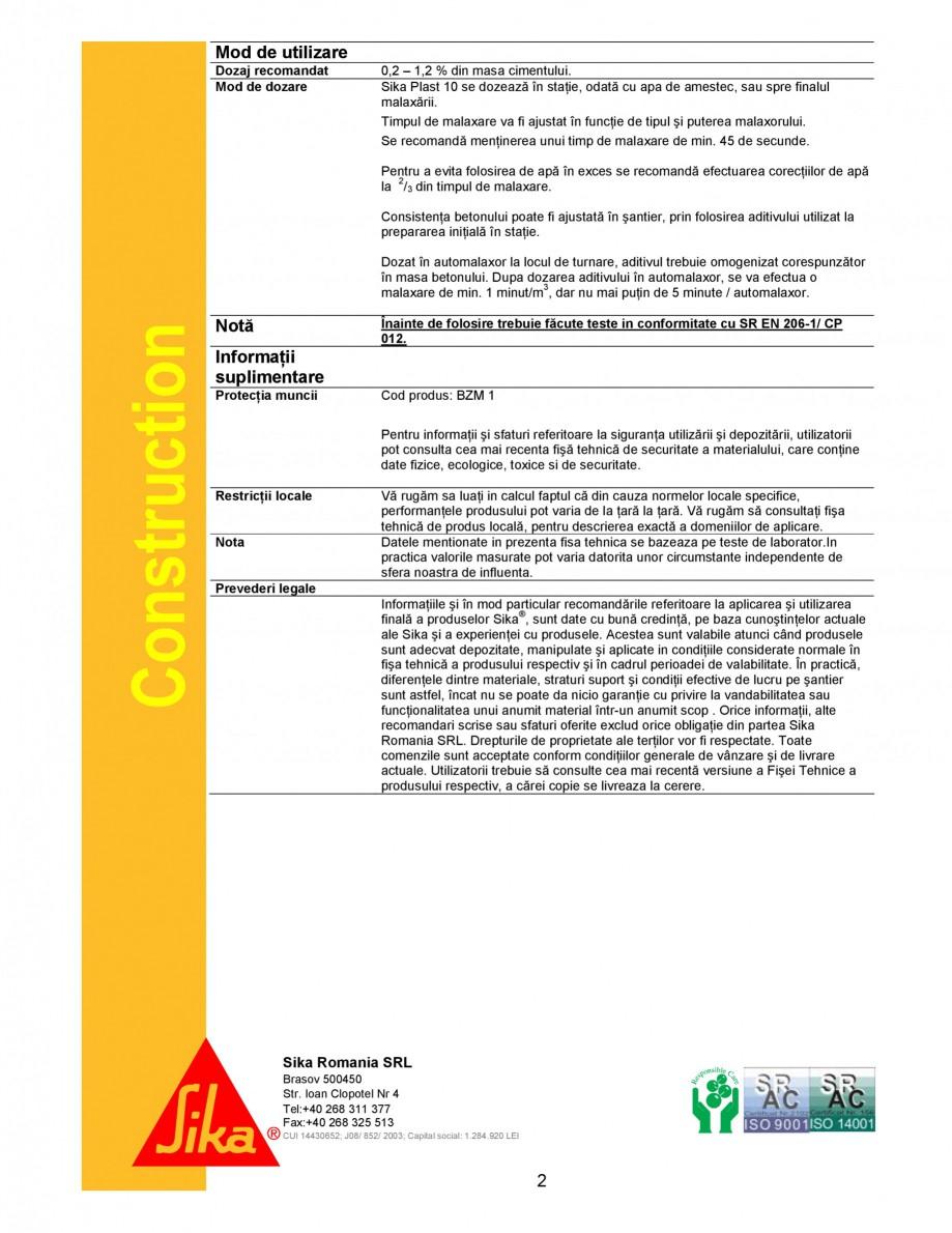 Pagina 2 - Superplastifiant universal pentru beton de transport SIKA Sika® Plast® 10 Fisa...