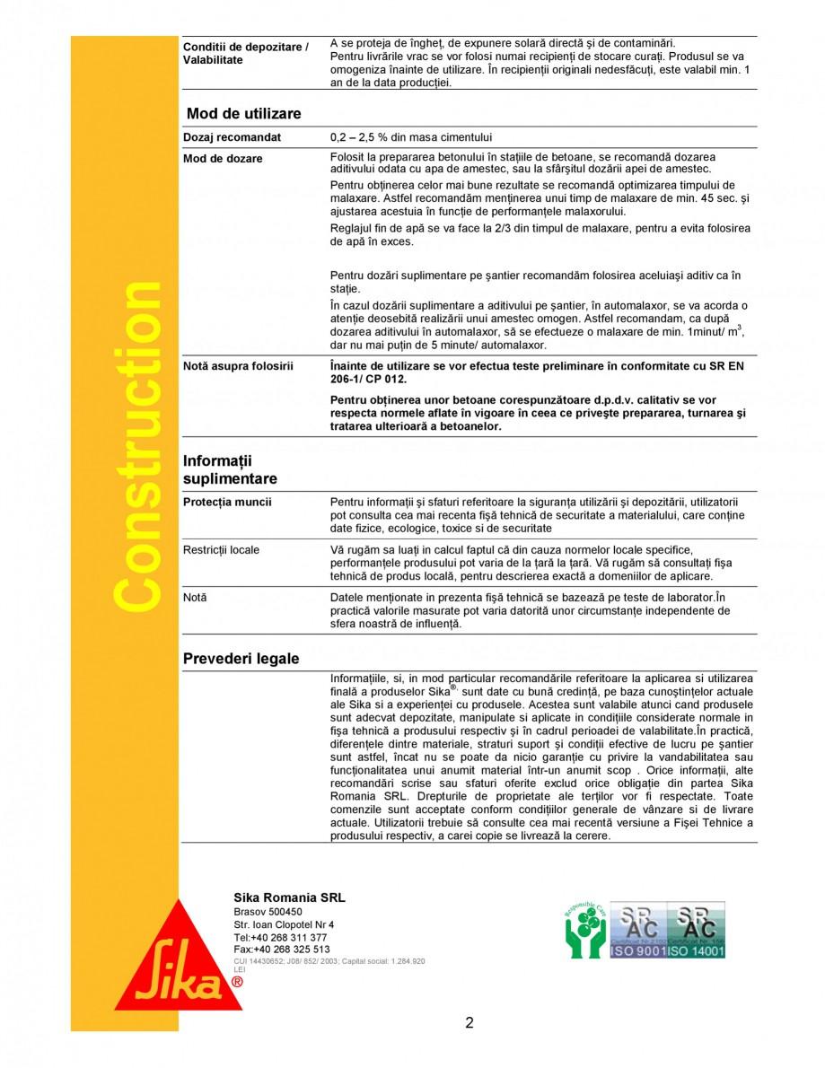 Pagina 2 - Superplastifiant universal pentru betoane de transport cu lucrabilitate extinsa SIKA...