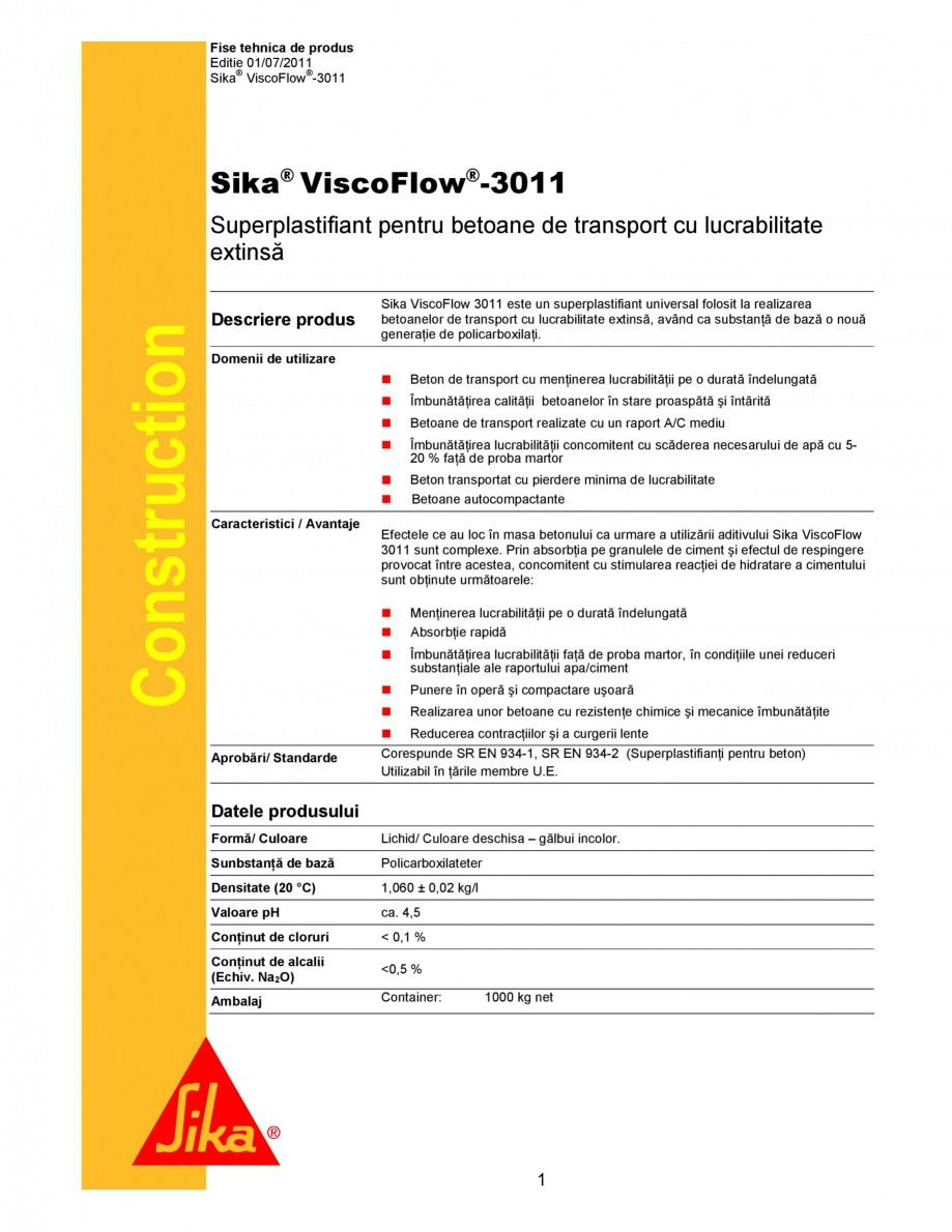 Pagina 1 - Superplastifiant universal pentru betoane de transport cu lucrabilitate extinsa SIKA...