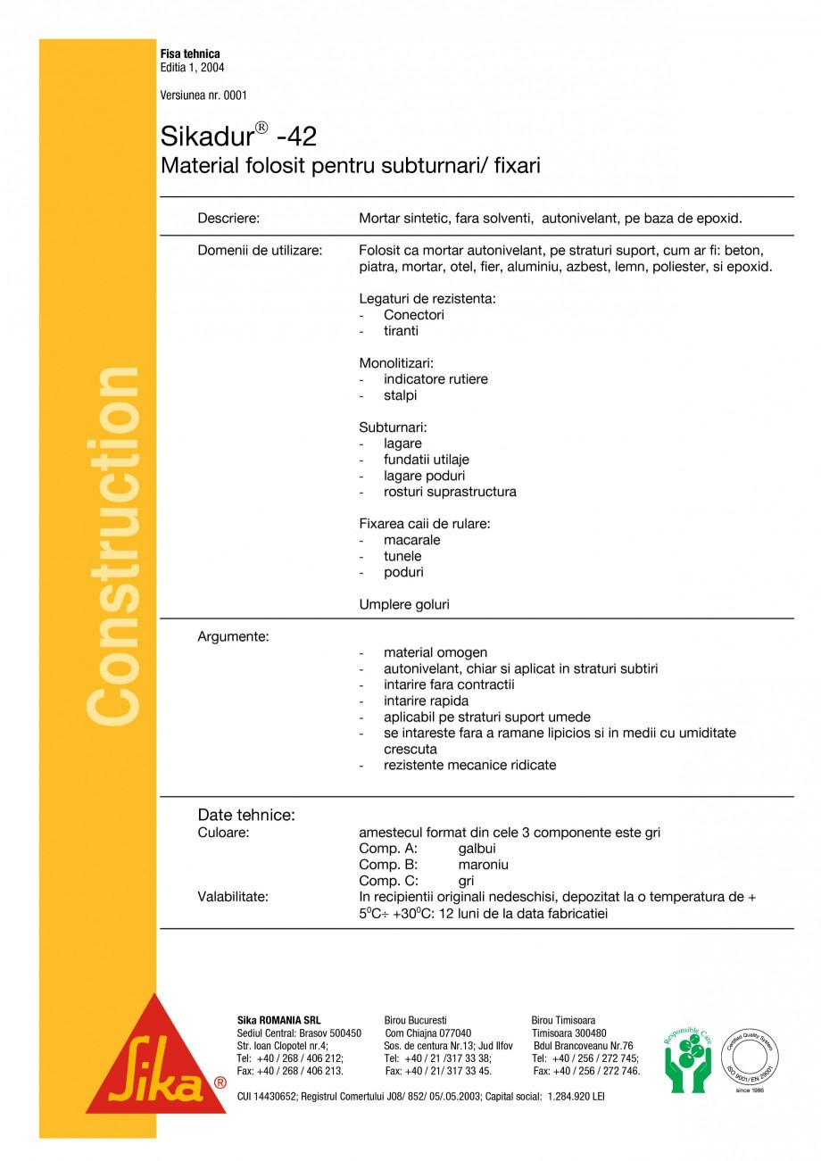 Pagina 1 - Mortar sintetic pentru subturnari si fixari SIKA Sikadur®-42 Fisa tehnica Romana Fisa...