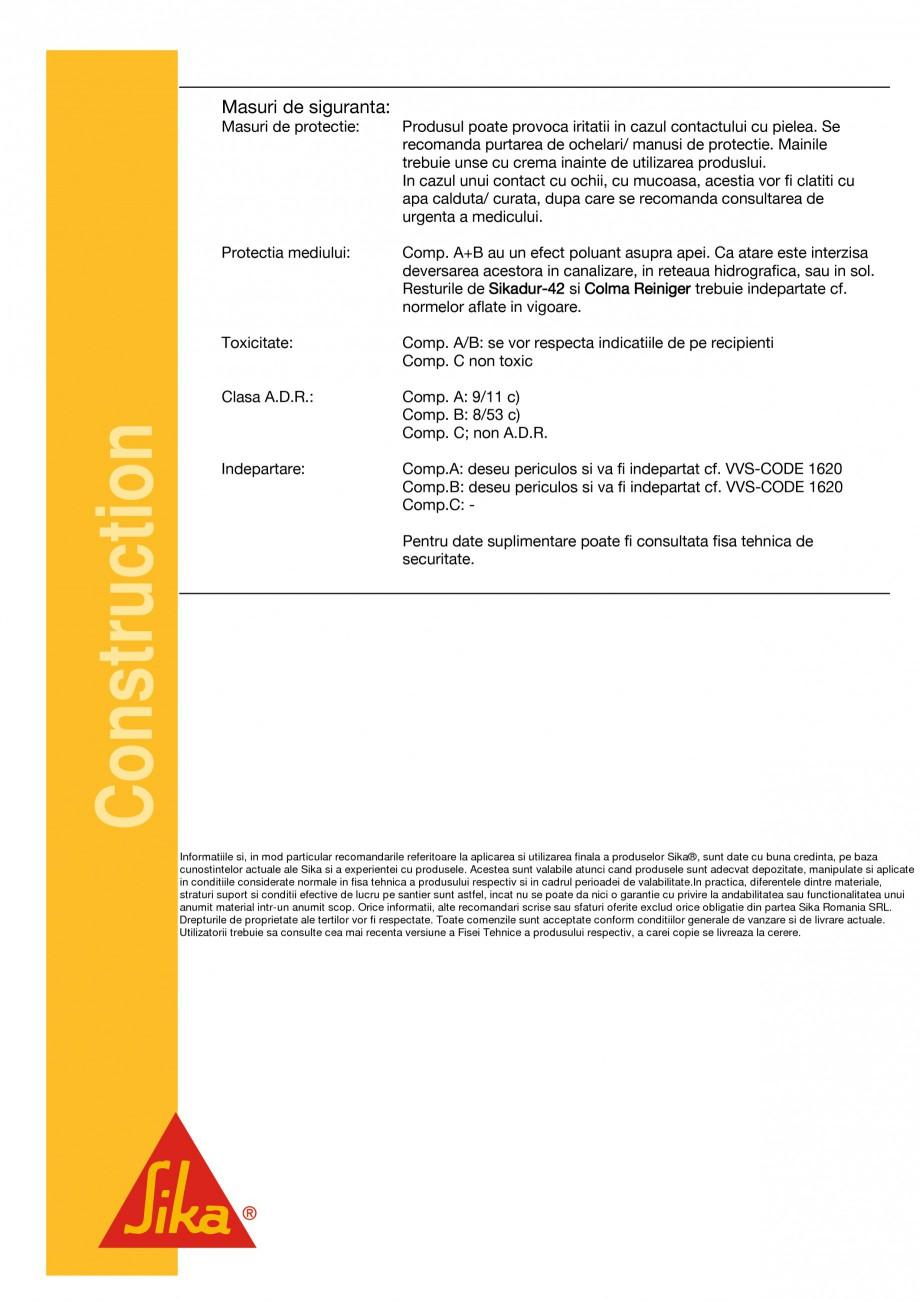 Pagina 4 - Mortar sintetic pentru subturnari si fixari SIKA Sikadur®-42 Fisa tehnica Romana...