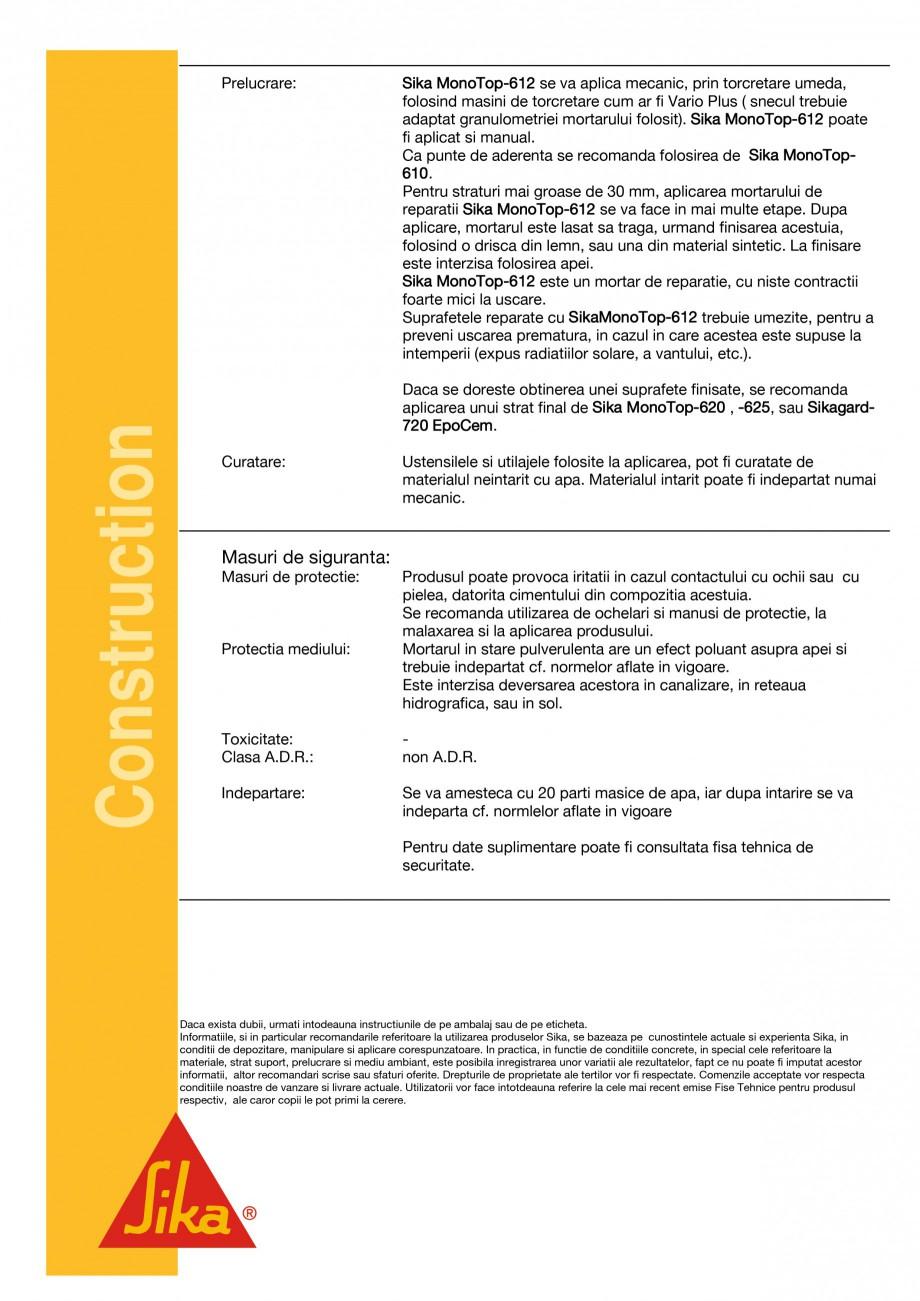 Pagina 3 - Mortar de reparatii si reprofilari SIKA Sika® MonoTop®-612 Fisa tehnica Romana...