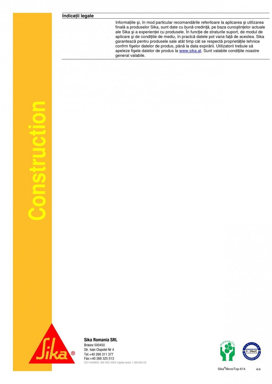 Pagina 4 - Mortar de reprofilare SIKA Sika® MonoTop®-614 Fisa tehnica Romana de adecvate,...