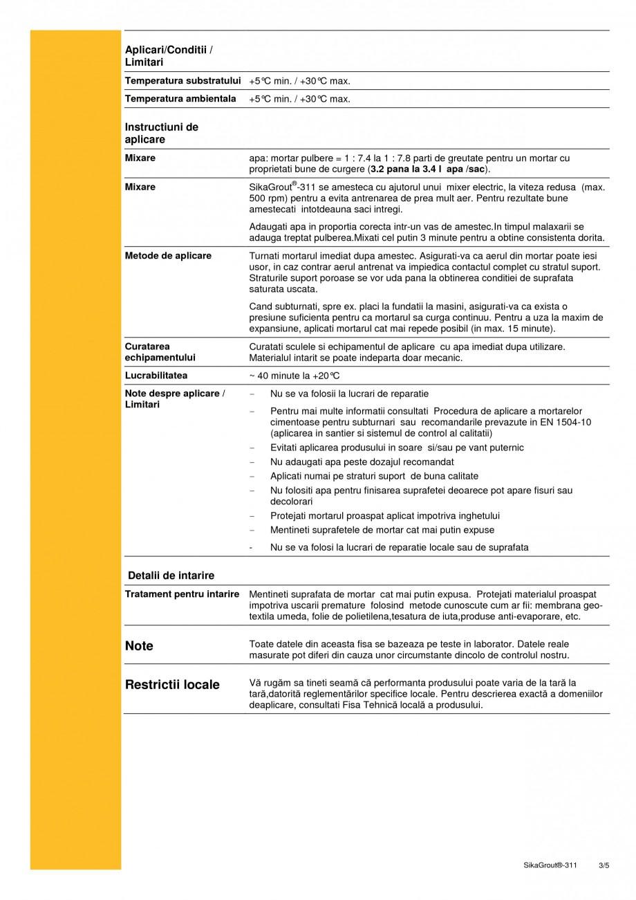Pagina 3 - Mortar expandabil de inalta performanta cu contractii reduse SIKA SikaGrout®-311 Fisa...