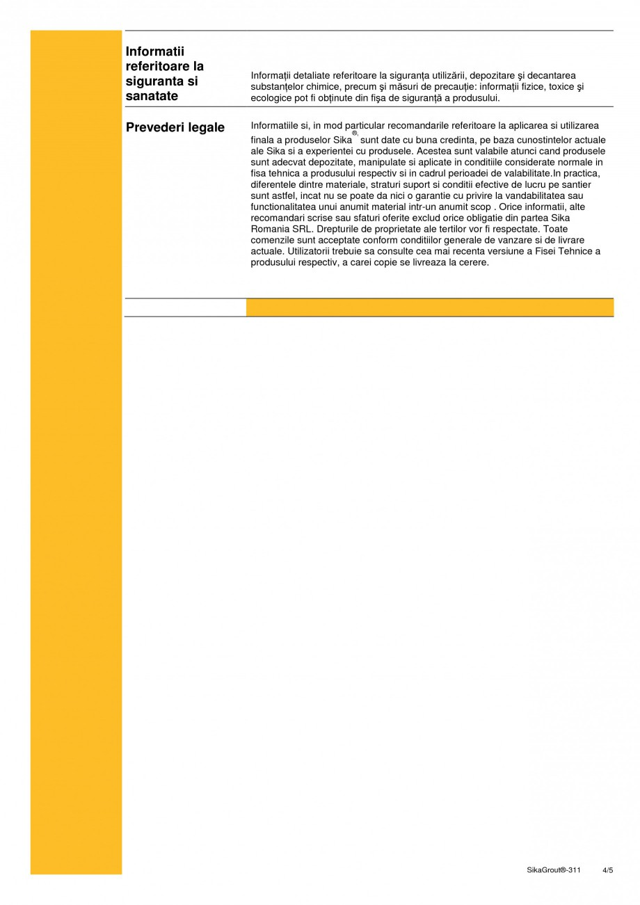 Pagina 4 - Mortar expandabil de inalta performanta cu contractii reduse SIKA SikaGrout®-311 Fisa...
