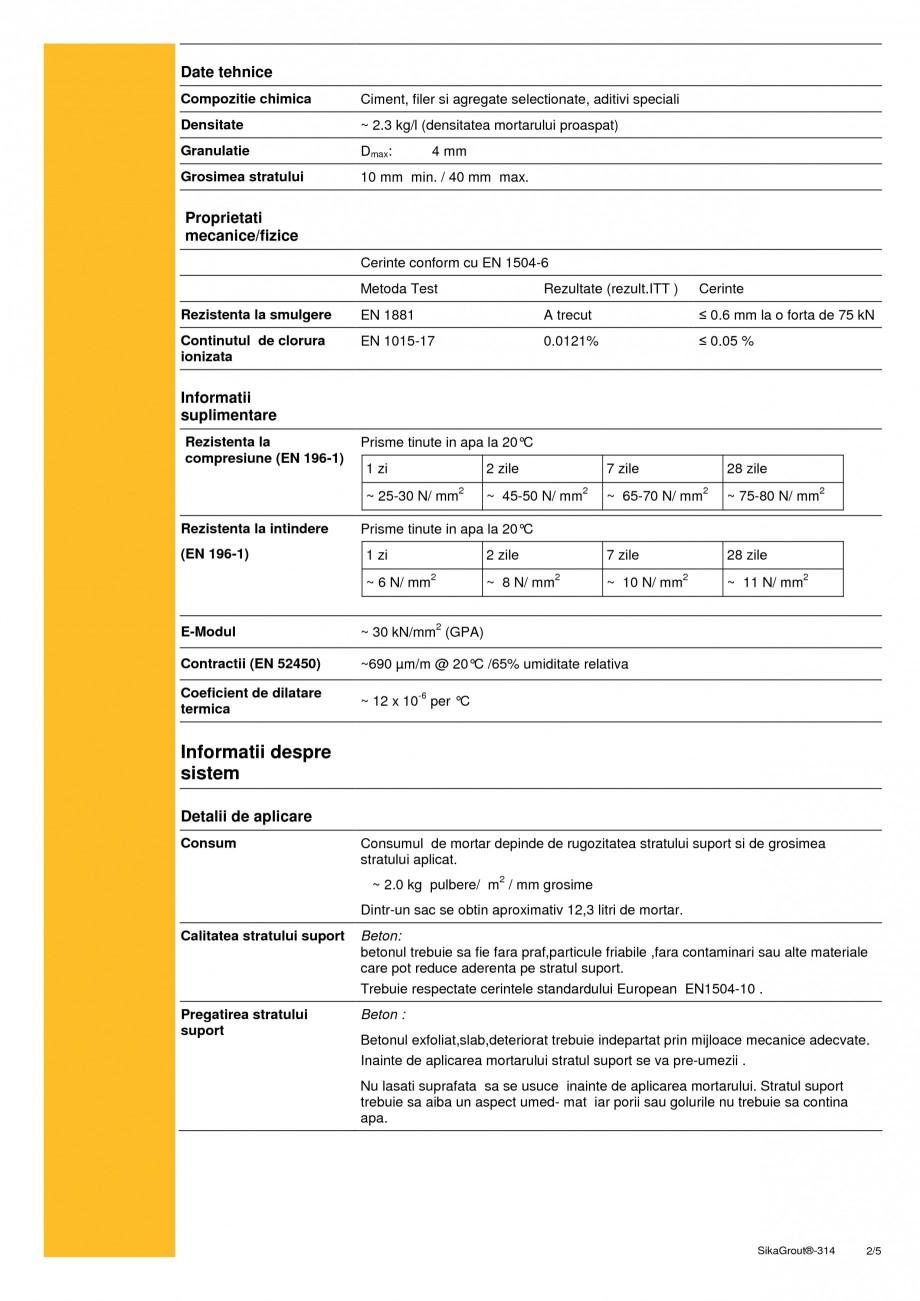 Pagina 2 - Mortar expandabil de inalta performanta cu contractii reduse SIKA SikaGrout®-314 Fisa...