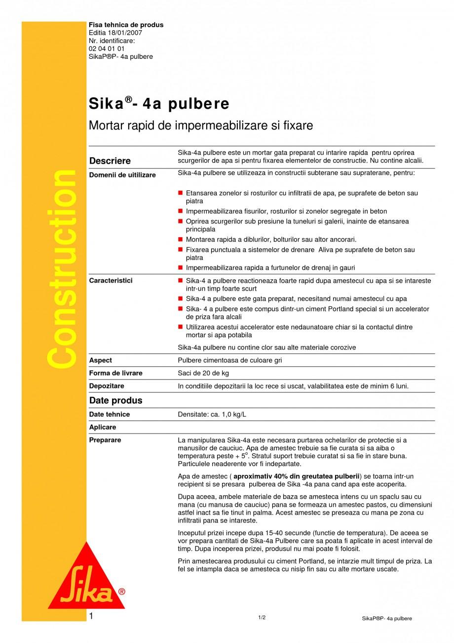 Pagina 1 - Mortar rapid de impermeabilizare si fixare SIKA Sika®-4a pulbere Fisa tehnica Romana ...