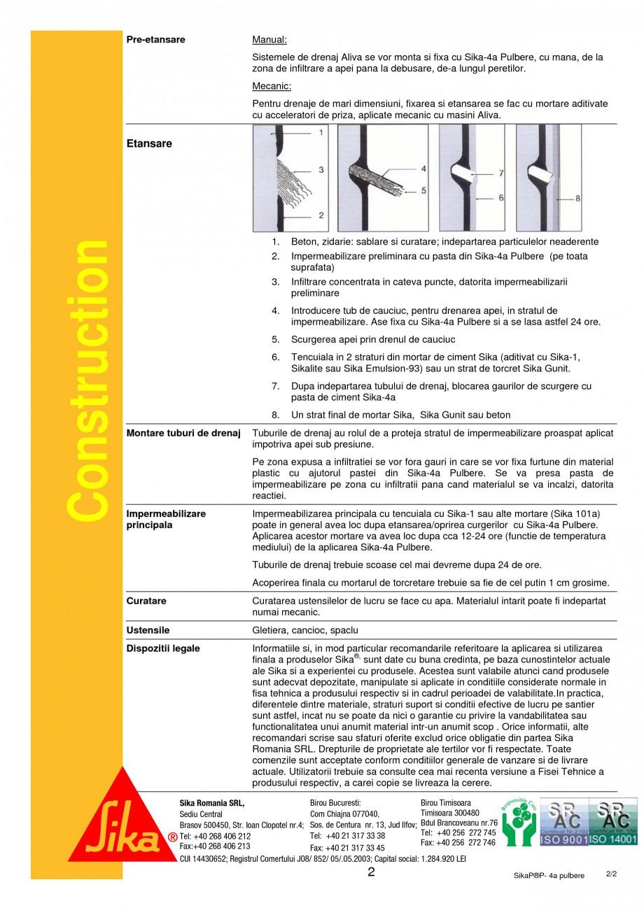 Pagina 2 - Mortar rapid de impermeabilizare si fixare SIKA Sika®-4a pulbere Fisa tehnica Romana ...