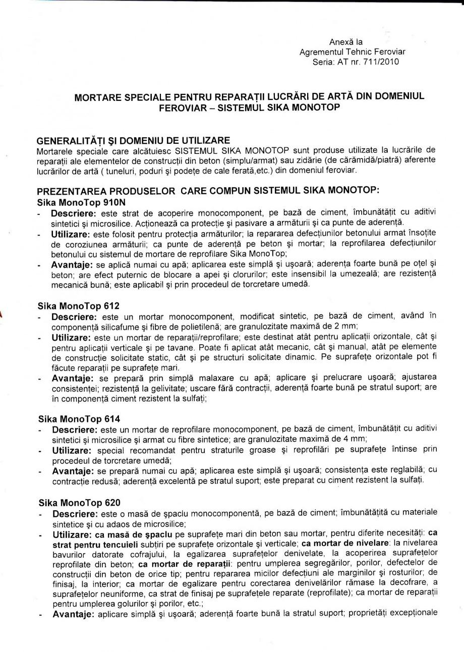 Pagina 2 - Agrement tehnic feroviar - Sistemul Sika Monotop - Rom SIKA Sika® MonoTop®-620,...