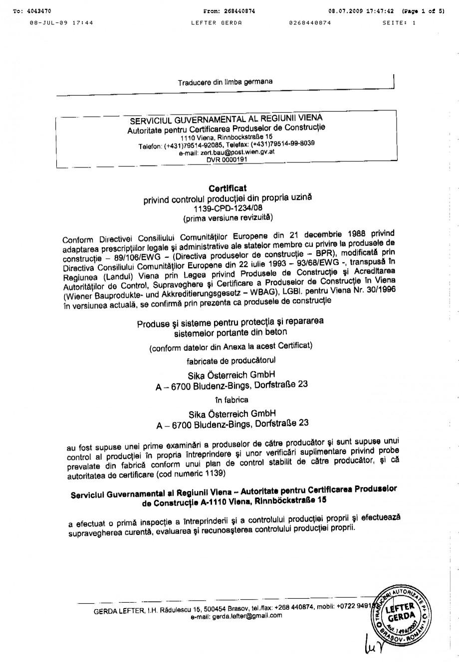 Pagina 1 - Certificat de productie SIKA Sika® MonoTop®-620 Certificare produs Romana