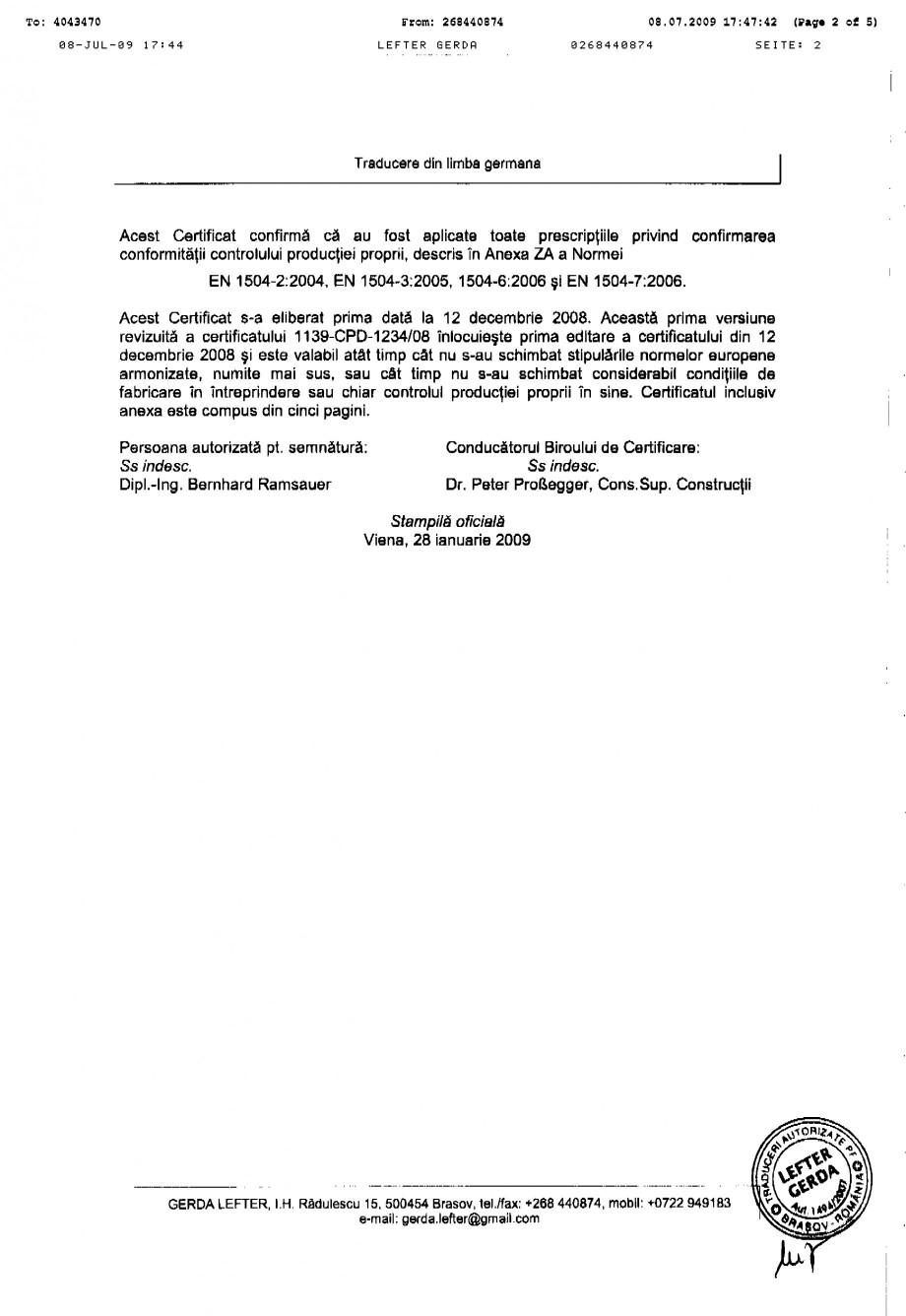 Pagina 2 - Certificat de productie SIKA Sika® MonoTop®-620 Certificare produs Romana