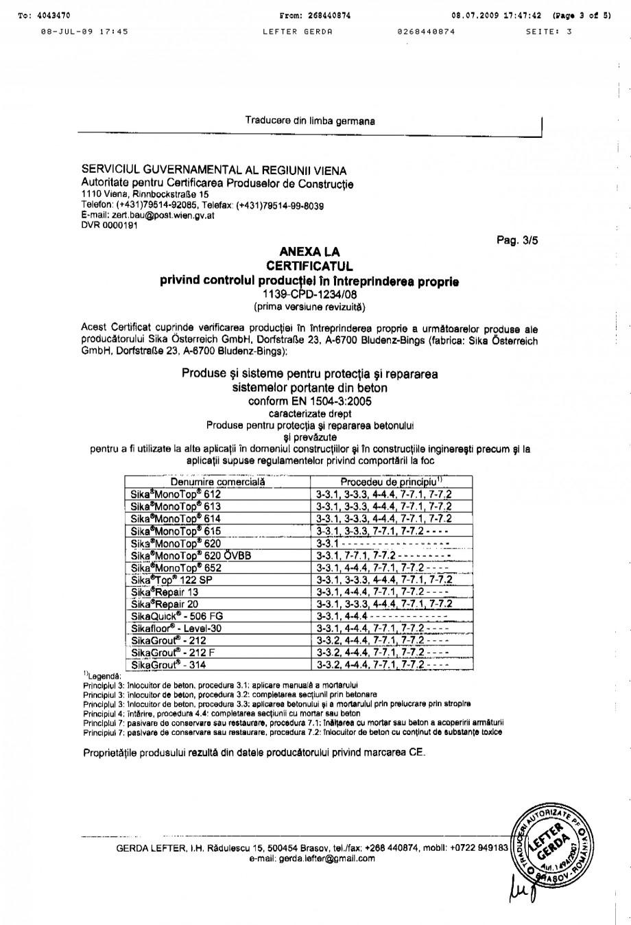 Pagina 3 - Certificat de productie SIKA Sika® MonoTop®-620 Certificare produs Romana