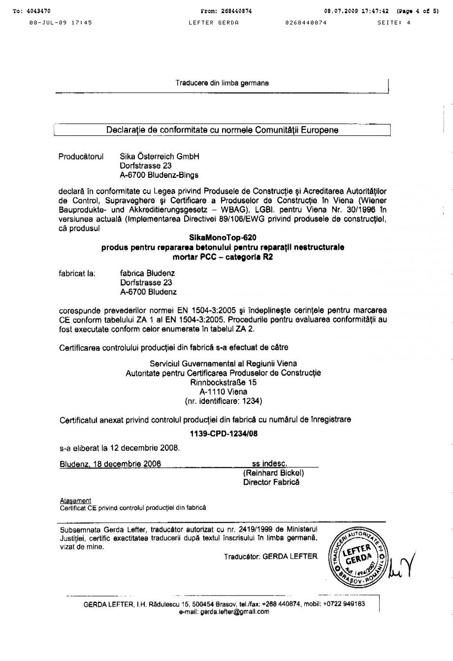 Pagina 4 - Certificat de productie SIKA Sika® MonoTop®-620 Certificare produs Romana