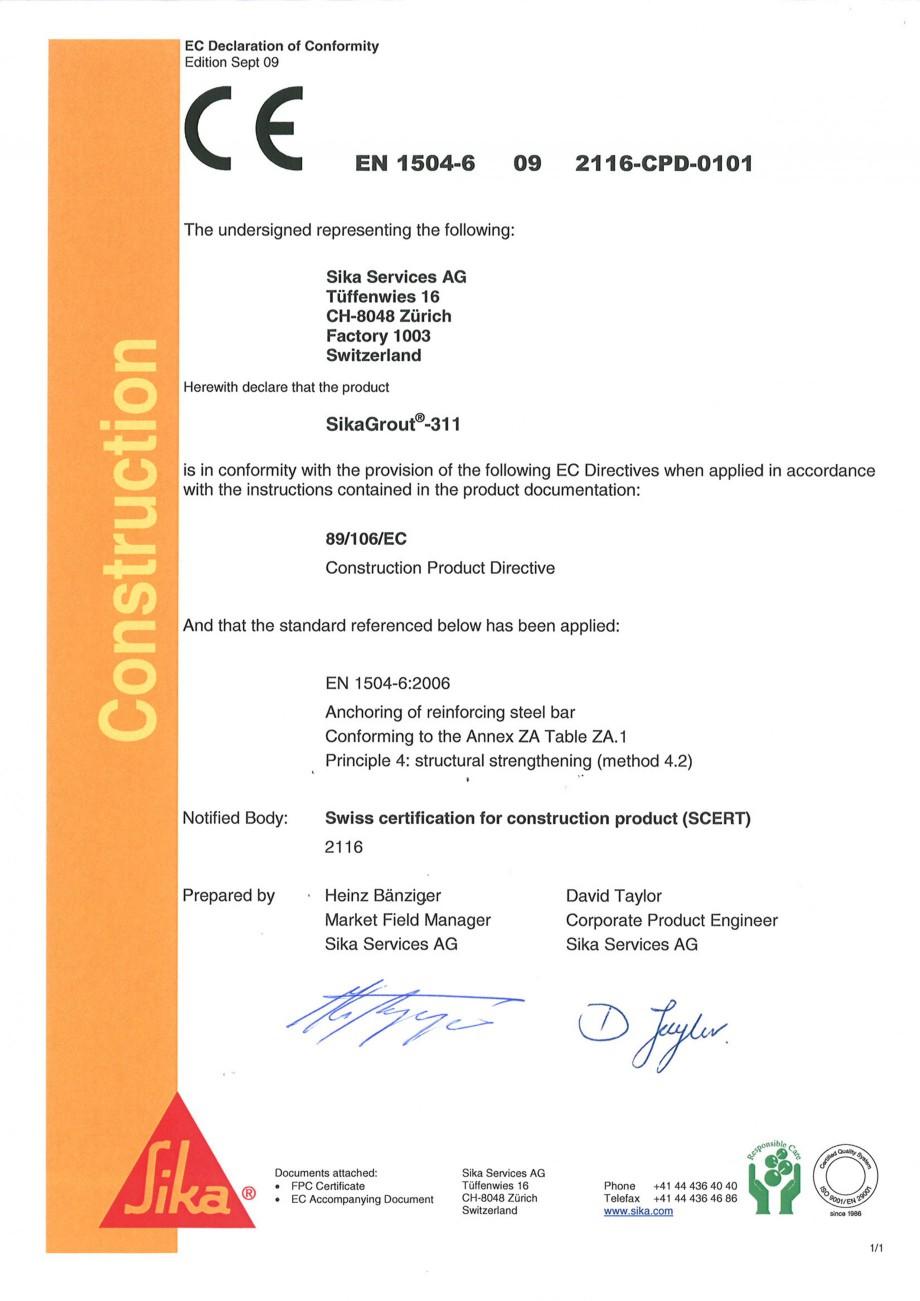Pagina 1 - Declaratie de conformitate SIKA SikaGrout®-311 Certificare produs Engleza