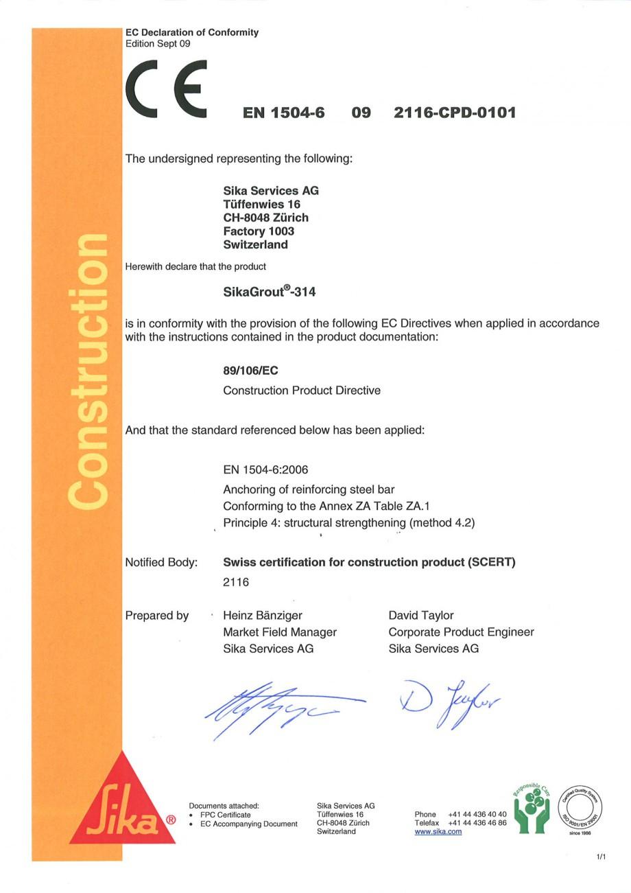 Pagina 1 - Declaratie de conformitate SIKA SikaGrout®-314 Certificare produs Engleza