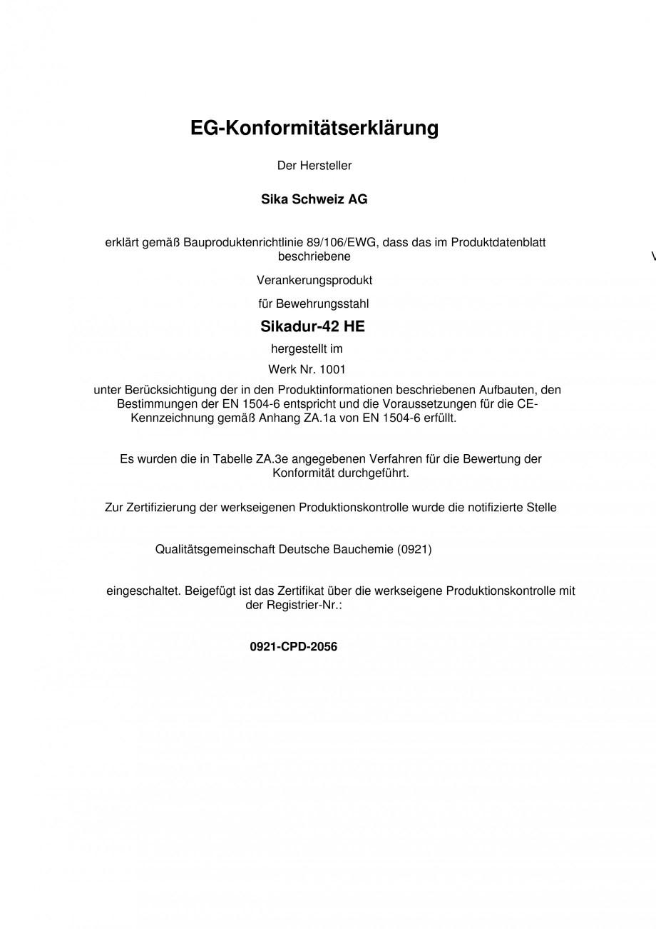 Pagina 1 - Declaratie de conformitate SIKA Sikadur®-42 Certificare produs Engleza, Germana...