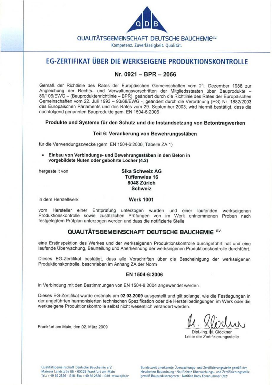 Pagina 3 - Declaratie de conformitate SIKA Sikadur®-42 Certificare produs Engleza, Germana