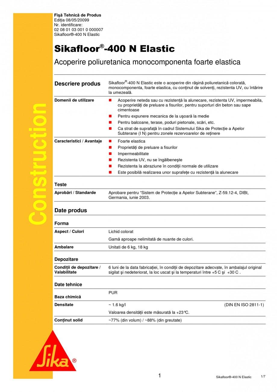Pagina 1 - Acoperire poliuretanica monocomponenta foarte elastica SIKA Sikafloor®-400 N Elastic ...