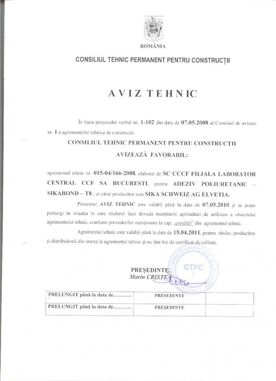 Pagina 1 - Agrement tehnic SIKA Certificare produs Romana