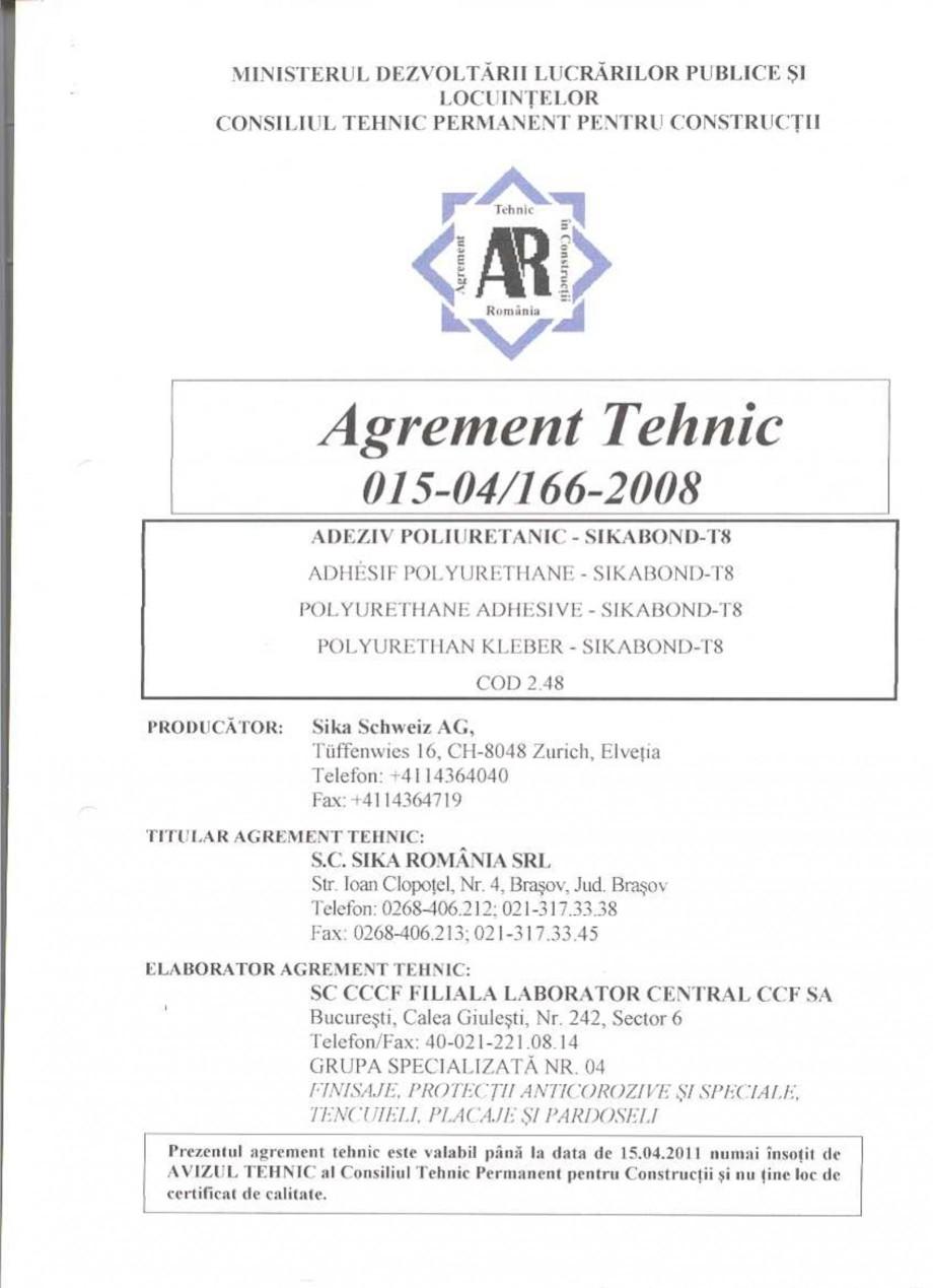 Pagina 3 - Agrement tehnic SIKA Certificare produs Romana