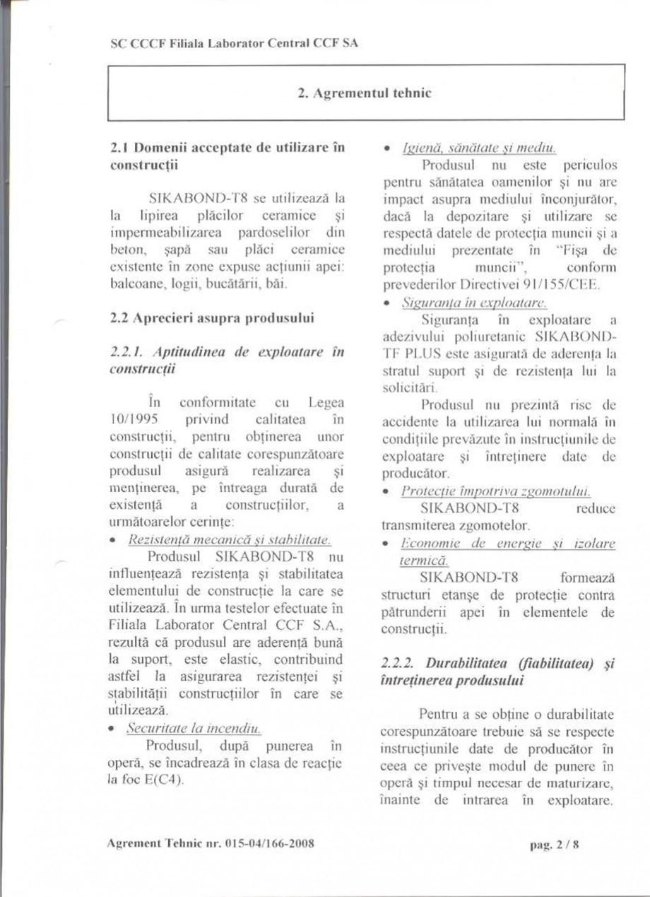 Pagina 5 - Agrement tehnic SIKA Certificare produs Romana