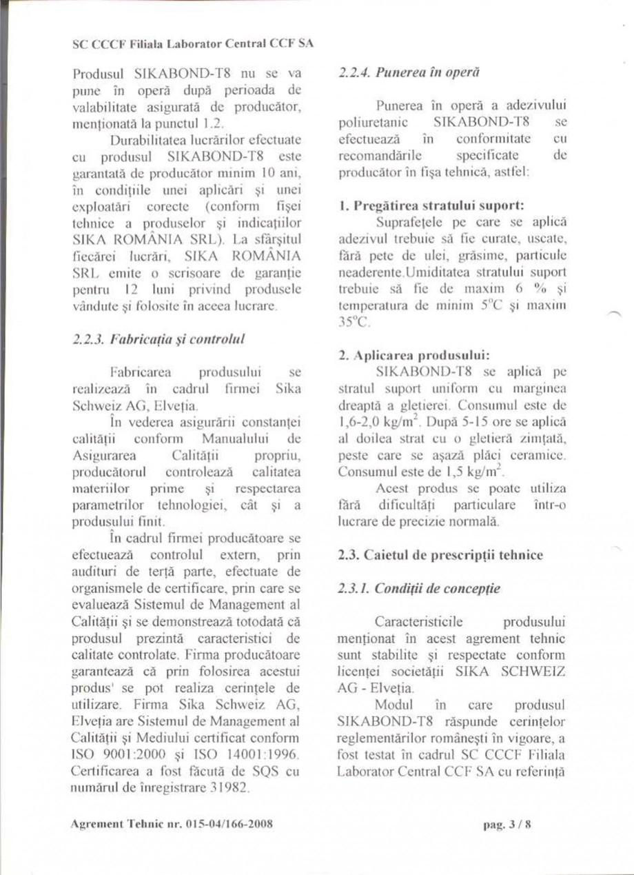 Pagina 6 - Agrement tehnic SIKA Certificare produs Romana