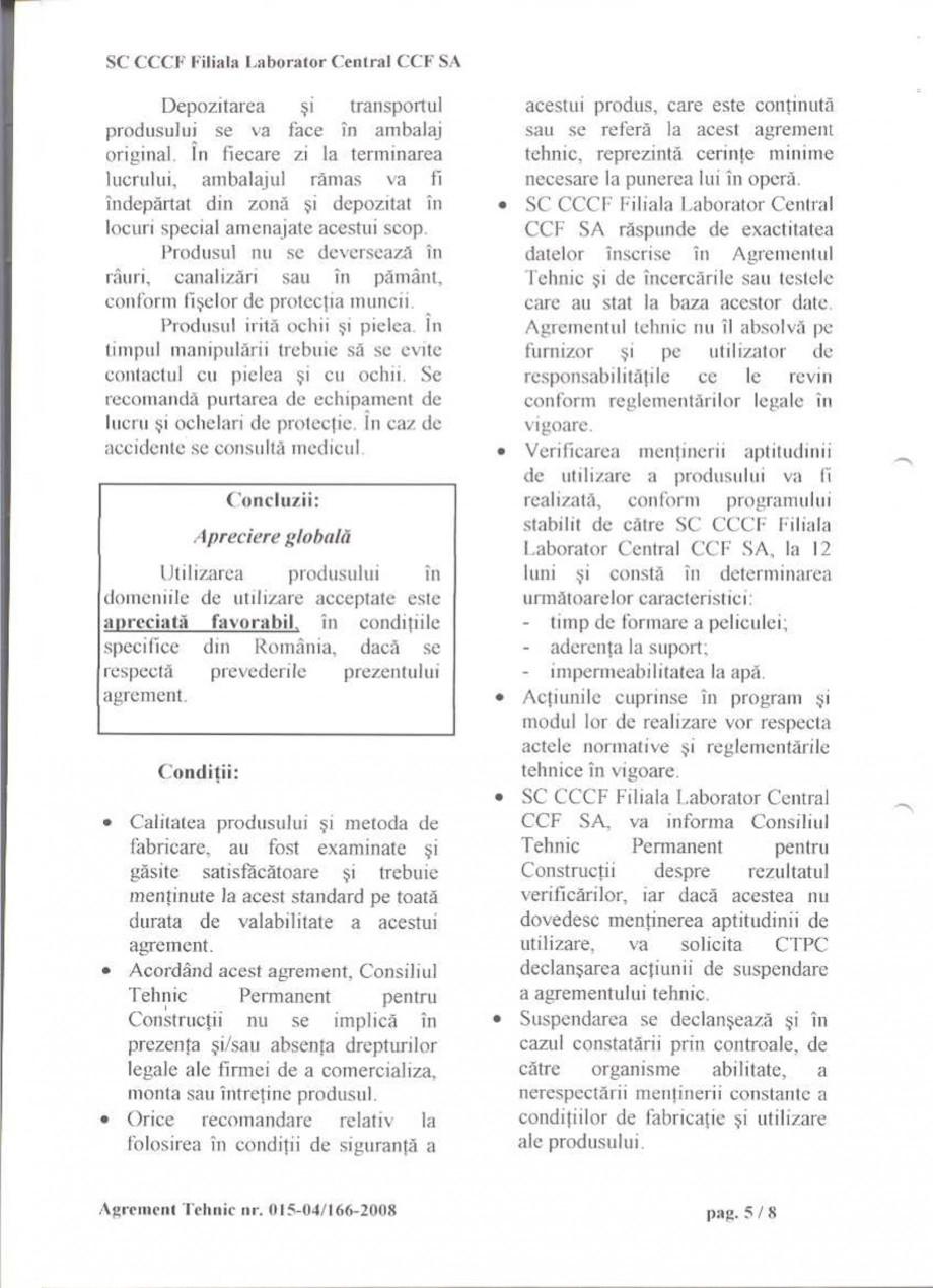 Pagina 8 - Agrement tehnic SIKA Certificare produs Romana