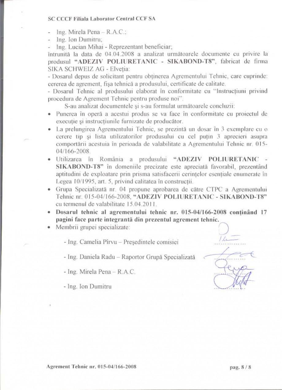 Pagina 11 - Agrement tehnic SIKA Certificare produs Romana